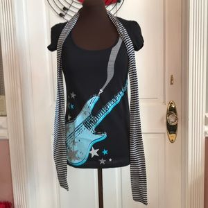 Guitar Tee With Matching Scarf
